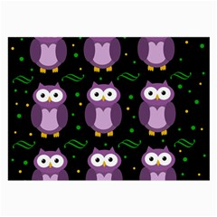 Halloween Purple Owls Pattern Large Glasses Cloth (2 Side)