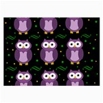 Halloween purple owls pattern Large Glasses Cloth (2-Side) Front