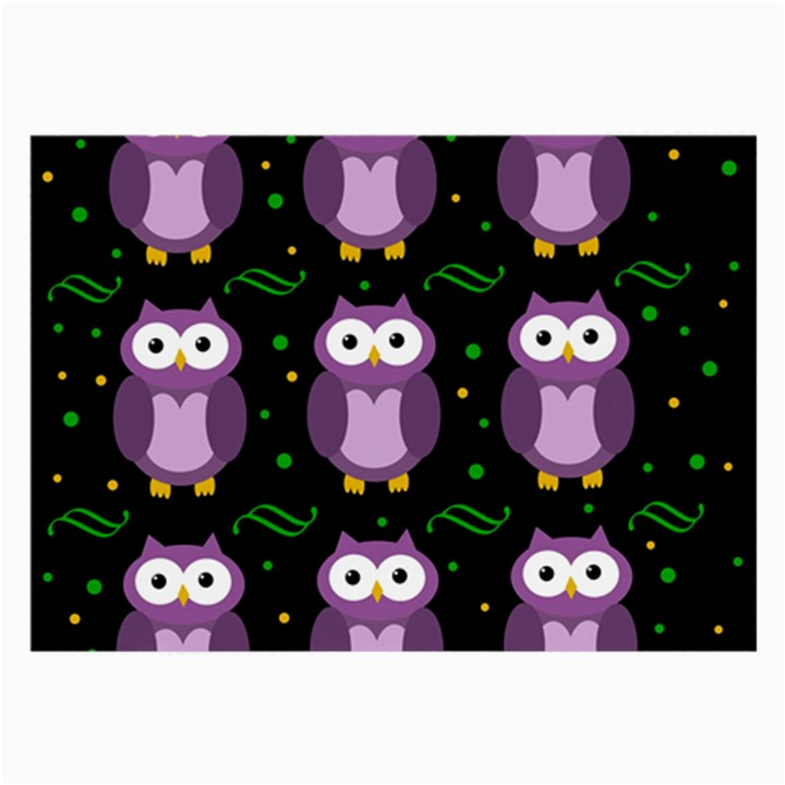 Halloween purple owls pattern Large Glasses Cloth (2-Side)