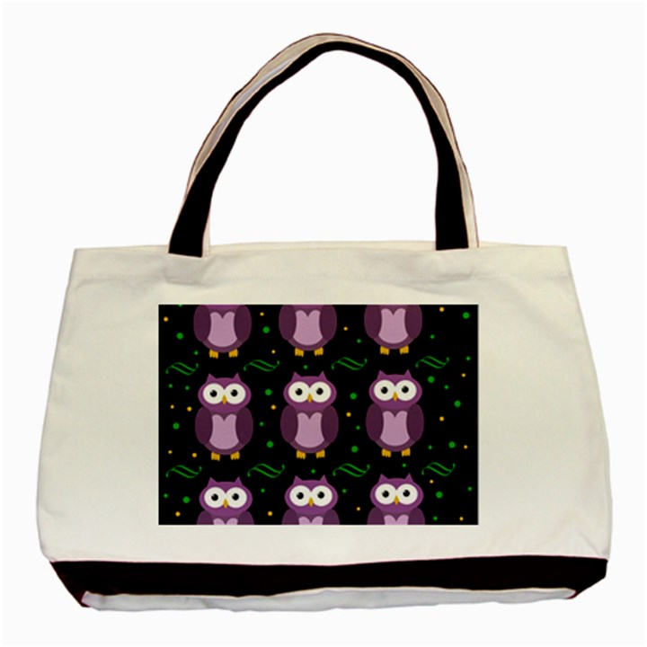 Halloween purple owls pattern Basic Tote Bag (Two Sides)