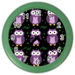 Halloween purple owls pattern Color Wall Clocks Front