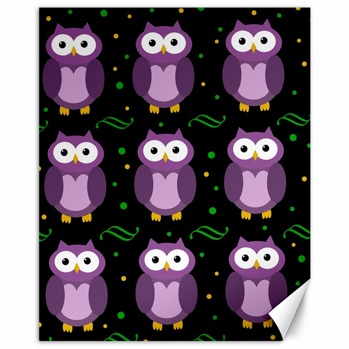 Halloween purple owls pattern Canvas 11  x 14
