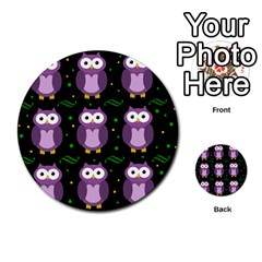 Halloween Purple Owls Pattern Multi Purpose Cards (round)