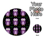 Halloween purple owls pattern Multi-purpose Cards (Round)  Back 4