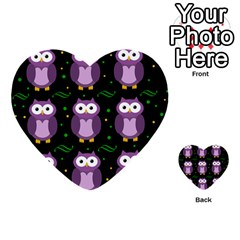 Halloween purple owls pattern Multi-purpose Cards (Heart)