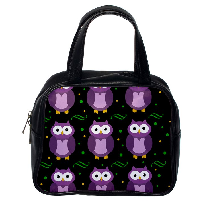 Halloween purple owls pattern Classic Handbags (One Side)