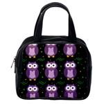 Halloween purple owls pattern Classic Handbags (2 Sides) Back