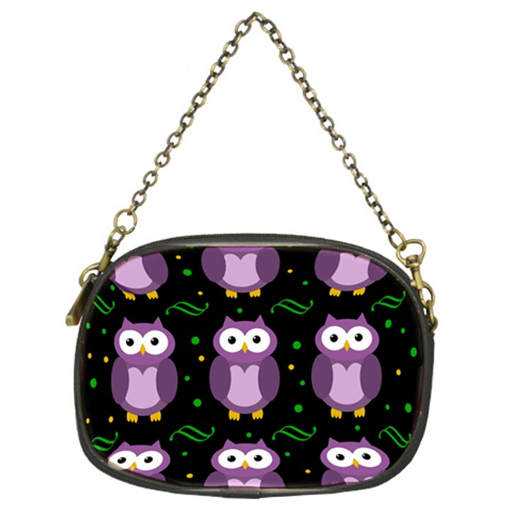 Halloween purple owls pattern Chain Purses (Two Sides)
