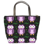 Halloween purple owls pattern Bucket Bags Back