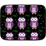 Halloween purple owls pattern Double Sided Fleece Blanket (Mini)  35 x27 Blanket Back
