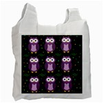 Halloween purple owls pattern Recycle Bag (Two Side)  Front