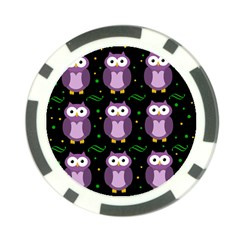 Halloween purple owls pattern Poker Chip Card Guards (10 pack)