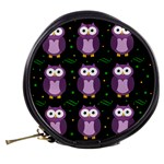 Halloween purple owls pattern Mini Makeup Bags Back