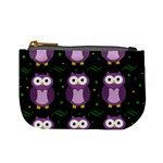 Halloween purple owls pattern Mini Coin Purses Front