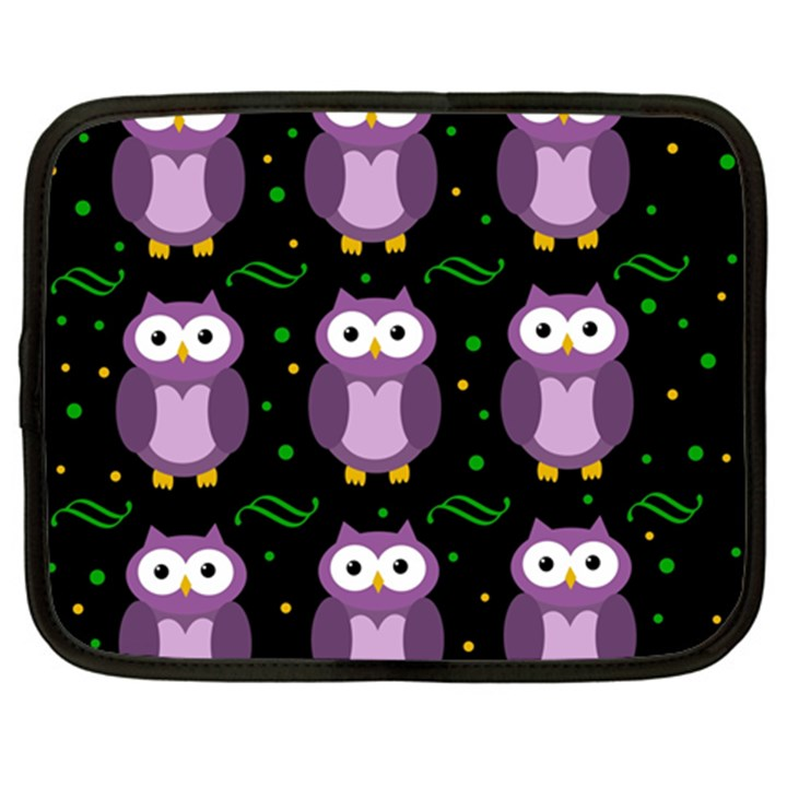 Halloween purple owls pattern Netbook Case (XL)