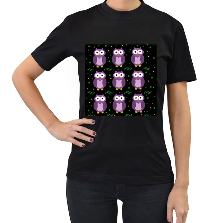 Halloween purple owls pattern Women s T-Shirt (Black)
