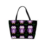 Halloween purple owls pattern Shoulder Handbags Front