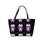 Halloween purple owls pattern Shoulder Handbags Back