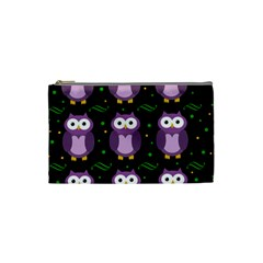Halloween Purple Owls Pattern Cosmetic Bag (small)