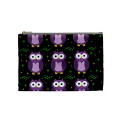 Halloween purple owls pattern Cosmetic Bag (Medium)