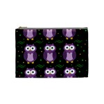 Halloween purple owls pattern Cosmetic Bag (Medium)  Front