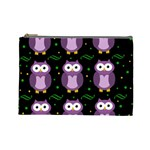 Halloween purple owls pattern Cosmetic Bag (Large)  Front