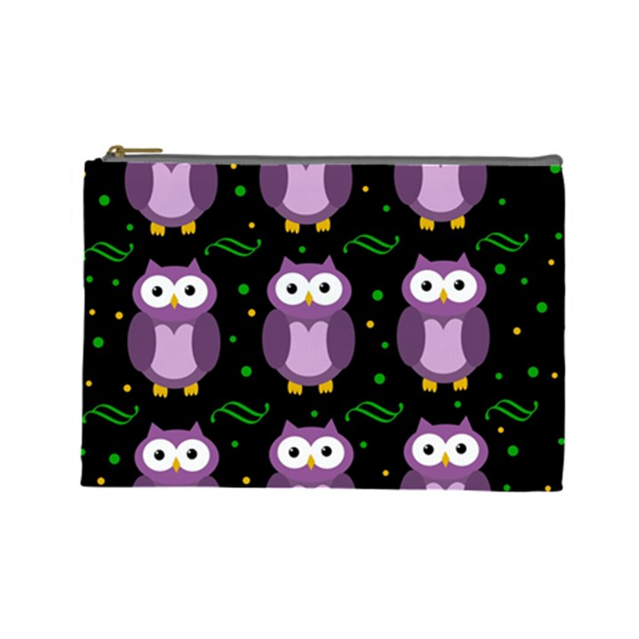 Halloween purple owls pattern Cosmetic Bag (Large)