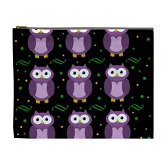 Halloween purple owls pattern Cosmetic Bag (XL)