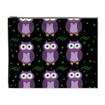 Halloween purple owls pattern Cosmetic Bag (XL) Front