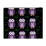 Halloween purple owls pattern Cosmetic Bag (XL) Back