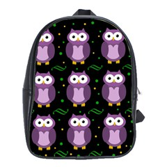 Halloween purple owls pattern School Bags(Large)