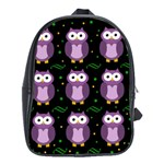 Halloween purple owls pattern School Bags(Large)  Front