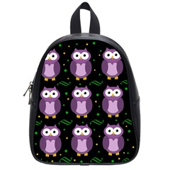 Halloween purple owls pattern School Bags (Small)