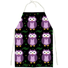 Halloween purple owls pattern Full Print Aprons