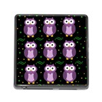 Halloween purple owls pattern Memory Card Reader (Square) Front