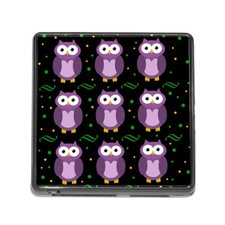 Halloween purple owls pattern Memory Card Reader (Square)