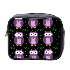 Halloween purple owls pattern Mini Toiletries Bag 2-Side