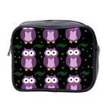 Halloween purple owls pattern Mini Toiletries Bag 2-Side Front