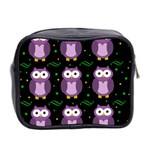 Halloween purple owls pattern Mini Toiletries Bag 2-Side Back
