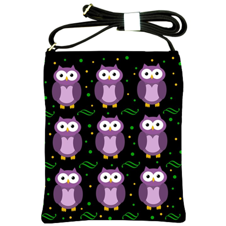 Halloween purple owls pattern Shoulder Sling Bags