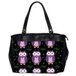 Halloween purple owls pattern Office Handbags (2 Sides)  Front