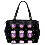 Halloween purple owls pattern Office Handbags (2 Sides)  Back