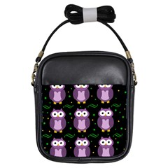 Halloween purple owls pattern Girls Sling Bags