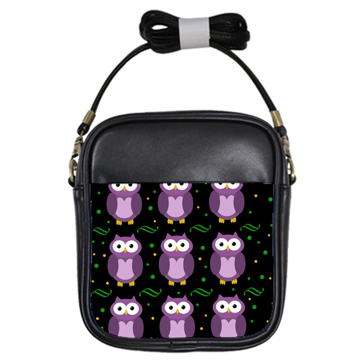 Halloween purple owls pattern Girls Sling Bags