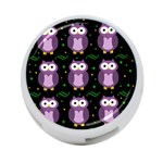 Halloween purple owls pattern 4-Port USB Hub (Two Sides)  Front