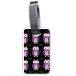 Halloween purple owls pattern Luggage Tags (Two Sides) Back
