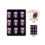 Halloween purple owls pattern Playing Cards (Mini)  Back