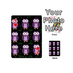Halloween purple owls pattern Playing Cards 54 (Mini)  Front - Heart4