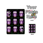 Halloween purple owls pattern Playing Cards 54 (Mini)  Front - Spade4