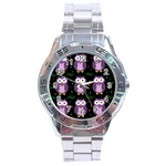 Halloween purple owls pattern Stainless Steel Analogue Watch Front